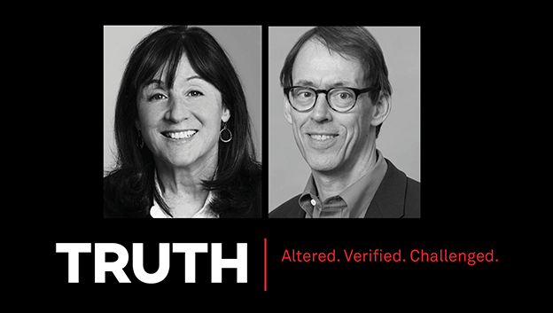 Headshots of of Jane Mayer and Peter Slevin
