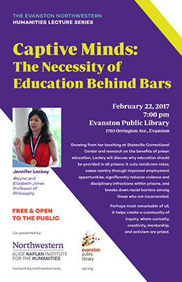 poster for Jennifer Lackey's talk on prison education