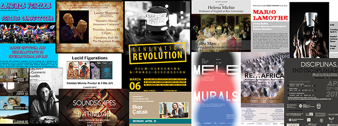 Collage of humanities event flyers