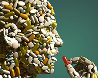 human head made of pills taking a pill