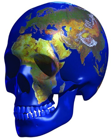 skull imprinted with map of the world